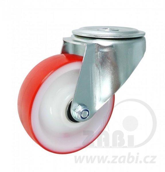 Plastové kolo 100 mm otočná vidlice s otvorem a ložiskem