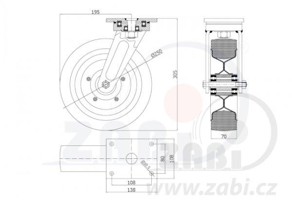 Pryžové kolo 250mm otočná vidlice s deskou