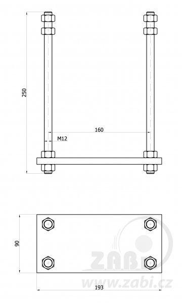 Kotevní patka pro vozík 60 mm