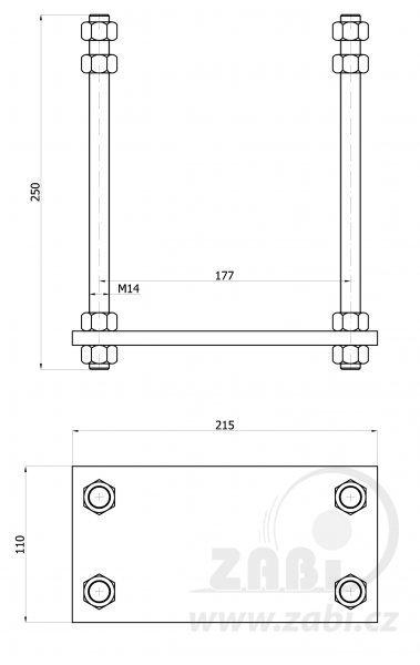 Kotevní patka pro vozík 70 mm