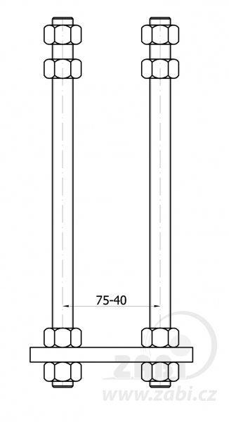 Kotevní patka pro vozík 80 mm