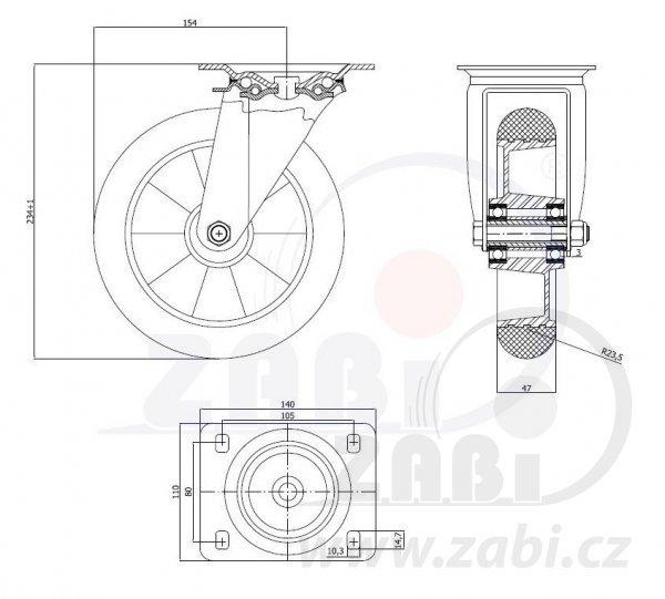 Polyuretanové kolo pro snadnou manipulaci - otočná vidlice