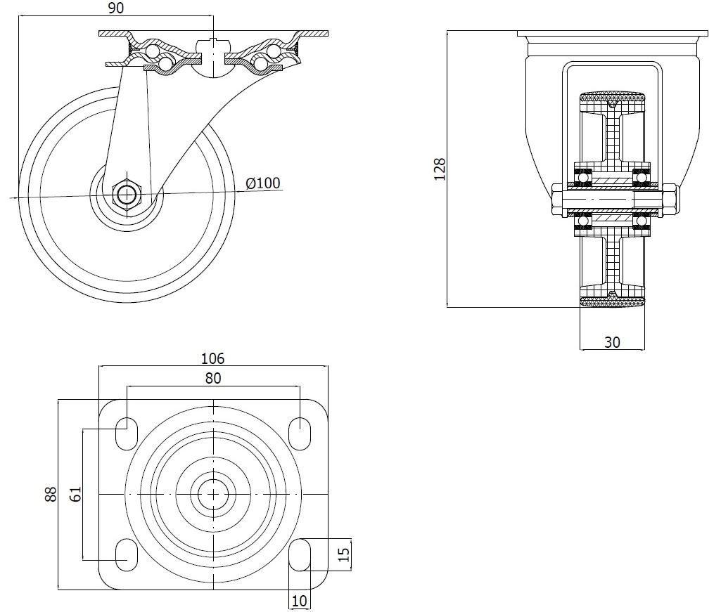 Plastové kolo 100 mm otočná vidlice s deskou