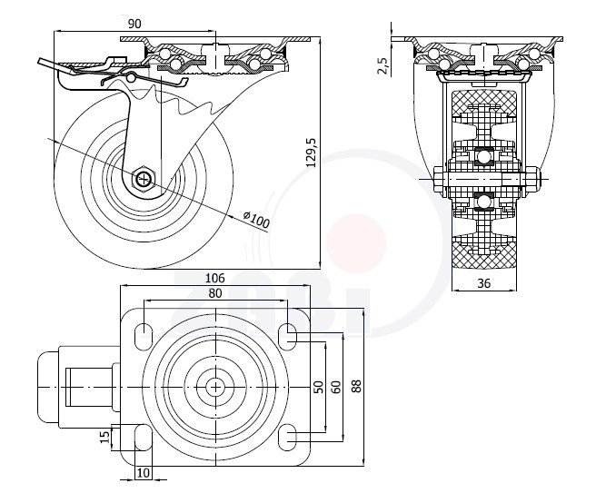 Pryžové kolo 100 mm otočná vidlice s deskou