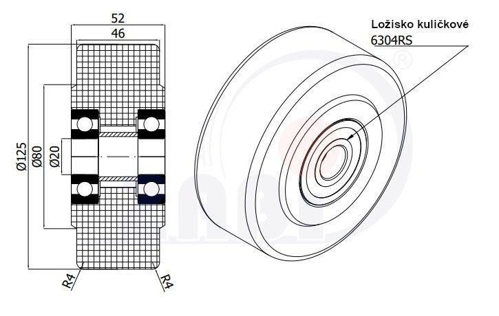Polyamidové kolo pro vysoké zatížení 125 mm