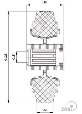 Pryžové kolo 125 mm samostatné s ložiskem