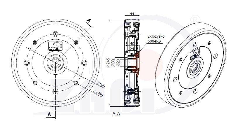 Zamačkávací integrované kolečko secího stroje 250mm