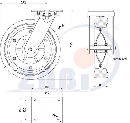 Pryžové kolo 350 mm otočná vidlice s deskou