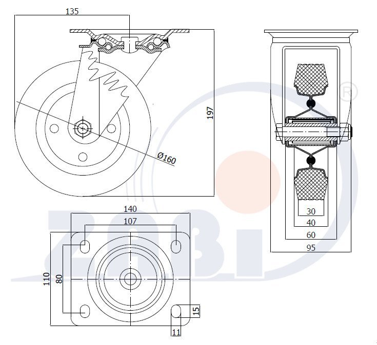 Pryžové kolo 160 mm otočná vidlice s deskou