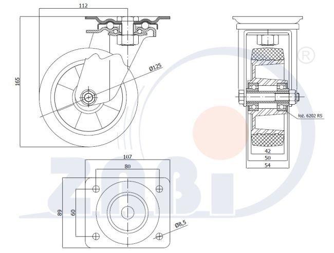 Pryžové kolo 125 mm otočná vidlice s deskou