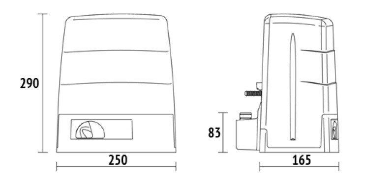 Bezkartáčový BRUSHLESS pohon posuvné brány do 500kg s mechanickým spínačem