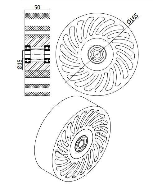 Polyuretanové kolo NO CRUSH 165 mm s ložiskem