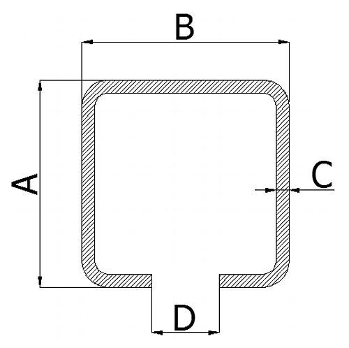 Nosný C profil pro posuvnou bránu 50mm délka 3 metry