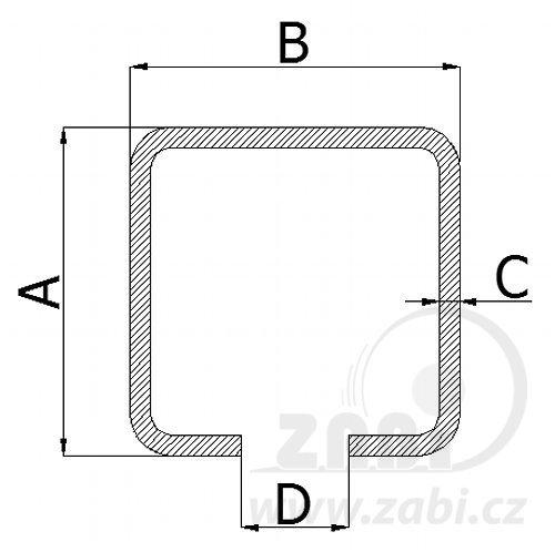 Nosný C profil pro posuvnou bránu 50mm délka 6 metru